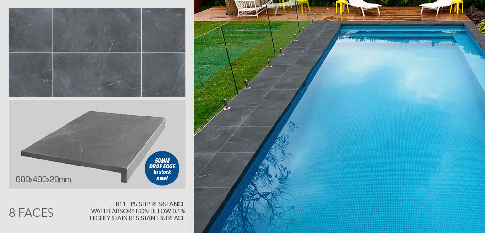 Pietra Grey pool coping