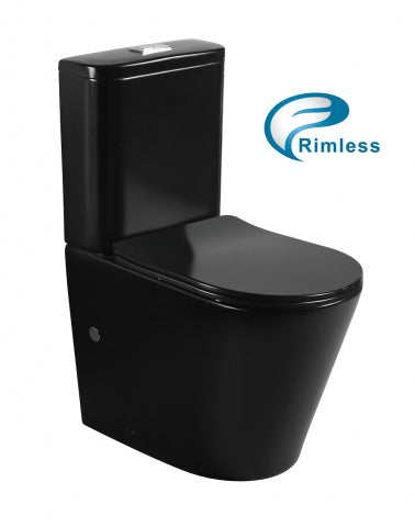 OASIS RIMLESS MATTE BLACK TOILET SUITE