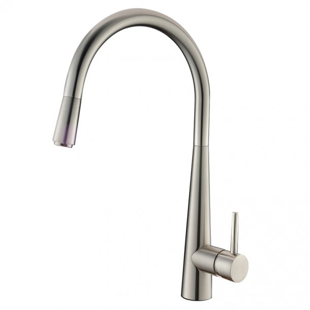BU1021.KM Round Brushed Nickel Pull Out Kitchen Sink Mixer Tap AQ