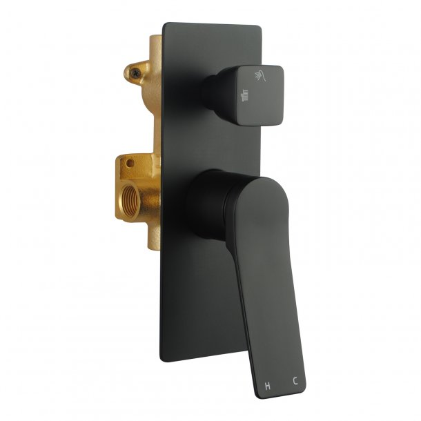 OX0155.ST Black Shower Wall Mixer With Diverter AQ