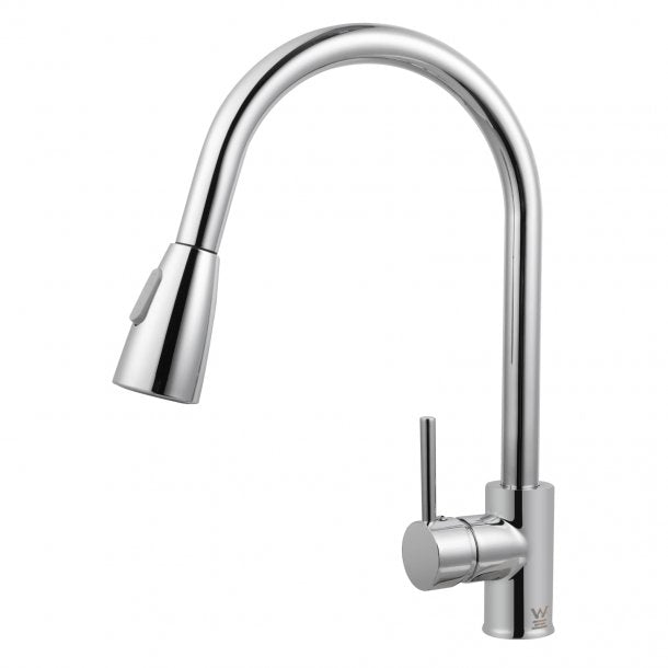 CH1019.KM Round Chrome Pull Out Shower Kitchen Sink Mixer Tap AQ
