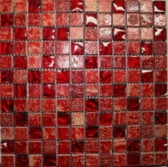POMPEIRED-#2.3X2.3 (30cm) Red StoneGlass On Mesh