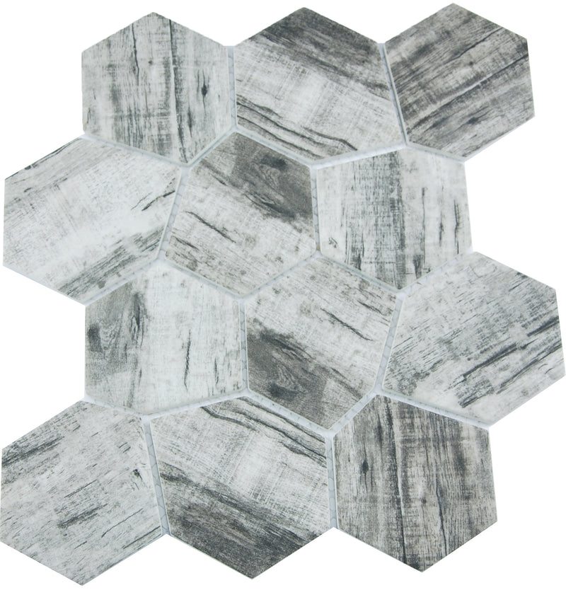 SEL041-MP682-1R SELECT IRREGULAR HEXAGON CHARCOAL SATIN