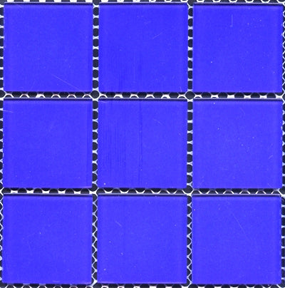 SPR007-B27 SPRING COBALT BLUE GLASS POOL MOSAIC 48X48MM