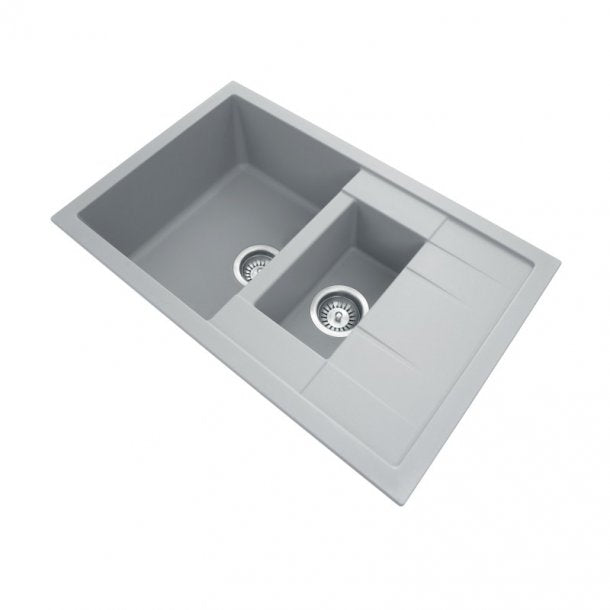 TWMD-150G 780 x 500 x 205mm Carysil Concrete Grey 1 and 1OVER4 Bowl Drainer Granite Kitchen Sink Top-Flush-Under Mount AQ