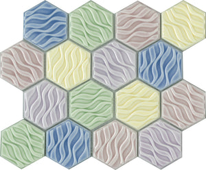 WAV004-GS001 ARABIA BLUE PATTERNED HEXAGON SATIN 73X73