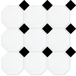 XGW009-GLOSS/MATT WHITE OCTAGON GLOSS/MATT BLACK DOT 97X97