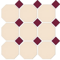 XMC100-MATT CREAM OCTAGON MATT BURGUNDY DOT 97X97