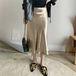 Glossy Satin Midi High Waist Skirt