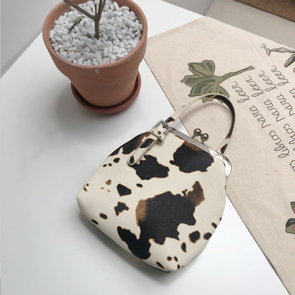 Cow Pattern Clip Handbag
