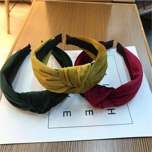 Women's velvet middle knotted wide headband