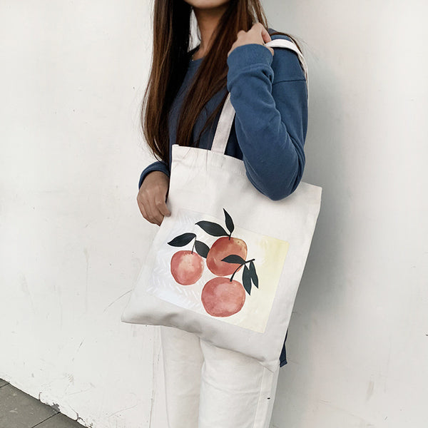Reusable Canvas Peaches Bag