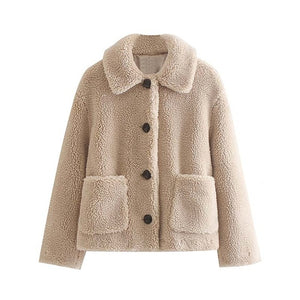 Furry Button-up Coat