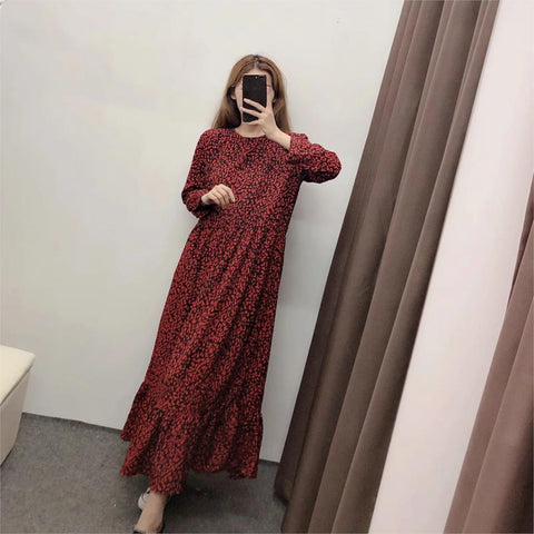 Vintage Loose Red Leopard Midi Dress