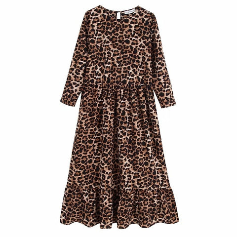 Vintage Loose Leopard Midi Dress
