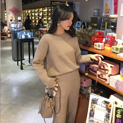 Women Sweater Two Piece knitted Sets Slim Tracksuit
