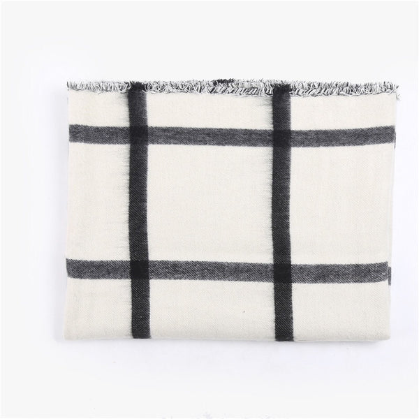 Plaid Black & White Oversize Scarf