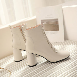 Ankle Lace Zip-up Boots