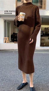 Ribbed Long Mock Neck Sweater Dress