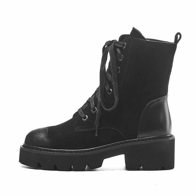 Genuine Leather Motorcycle Platform Boots