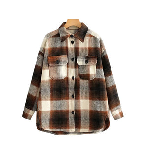 Vintage Style Oversized Plaid Button-Up