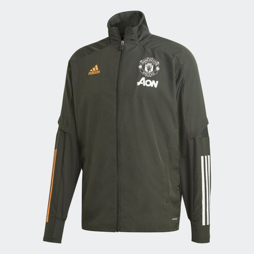 Adidas 2020-21 Manchester United Presentation Jacket - Olive Green-White