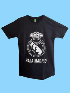 Real Madrid Men's Round Neck T Shirt Half Sleeve Black