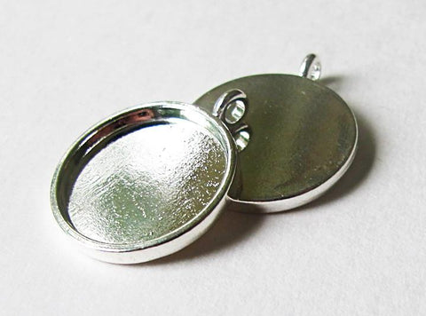 20 mm silver circle pendant tray - make resin pendants