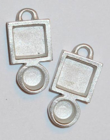 Circle square pewter bezels