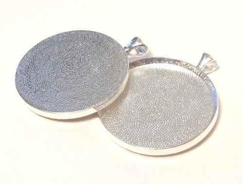 Extra large round silver bezel cup pendant