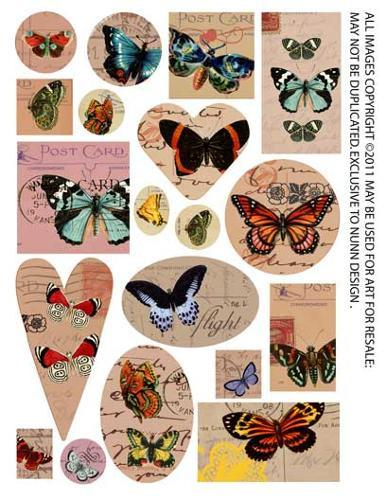 1/2 Collage Sheet Butterflies