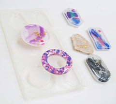 Six pendant clear silicone mold - resin jewelry mold - assorted shapes