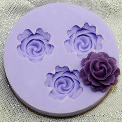 3 flower silicone mold roses