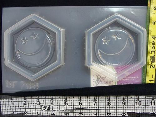 Set of 2 moon and stars coaster mold 768