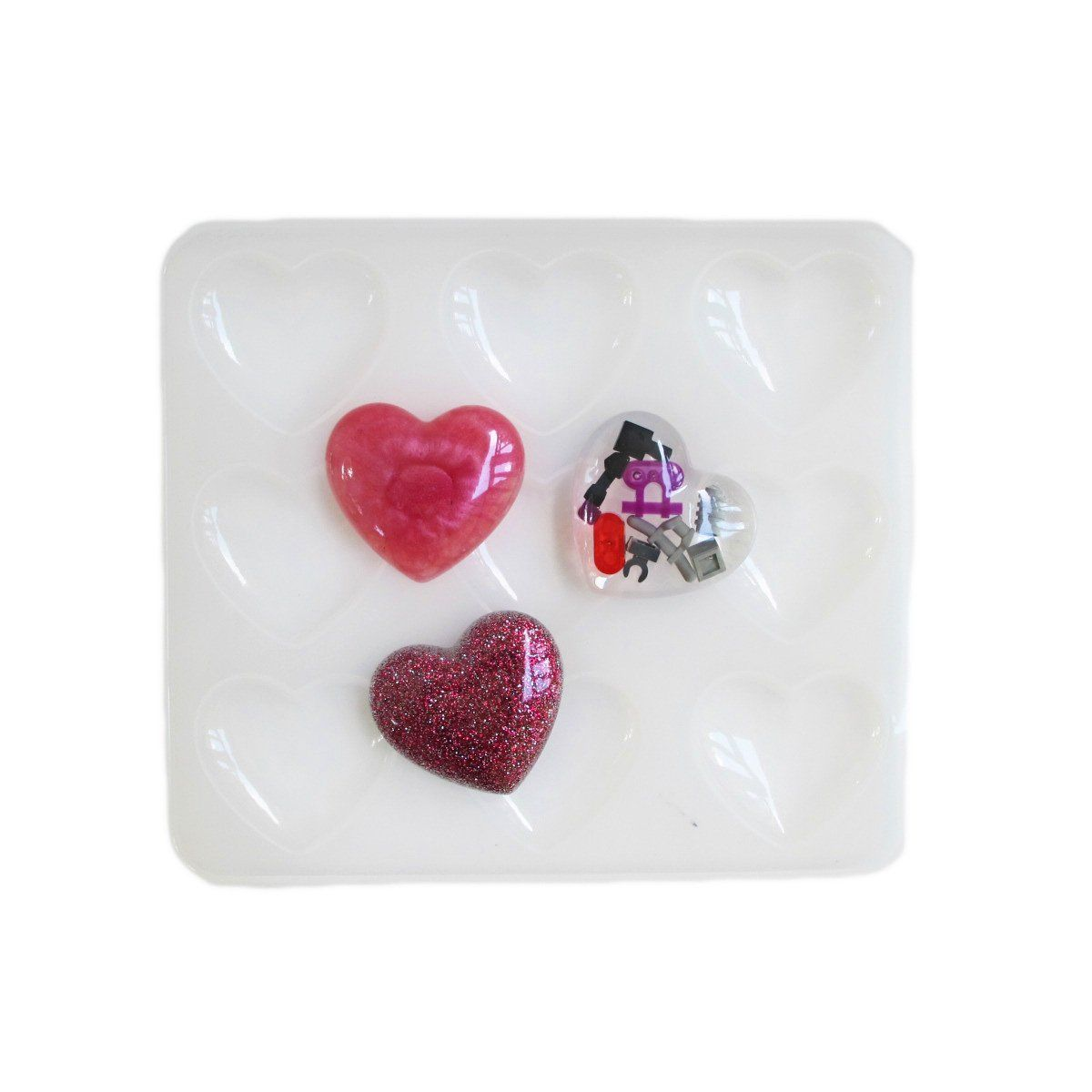 Nine hearts reusable silicone mold