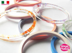 Clear silicone plain smooth bangle mold for large wrists