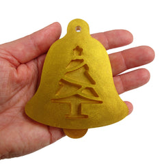 Bell ornament with Christmas tree cutout silicone mold