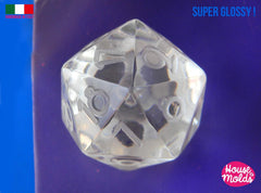 Countdown D20 dice mold - clear silicone dice mold - retro font