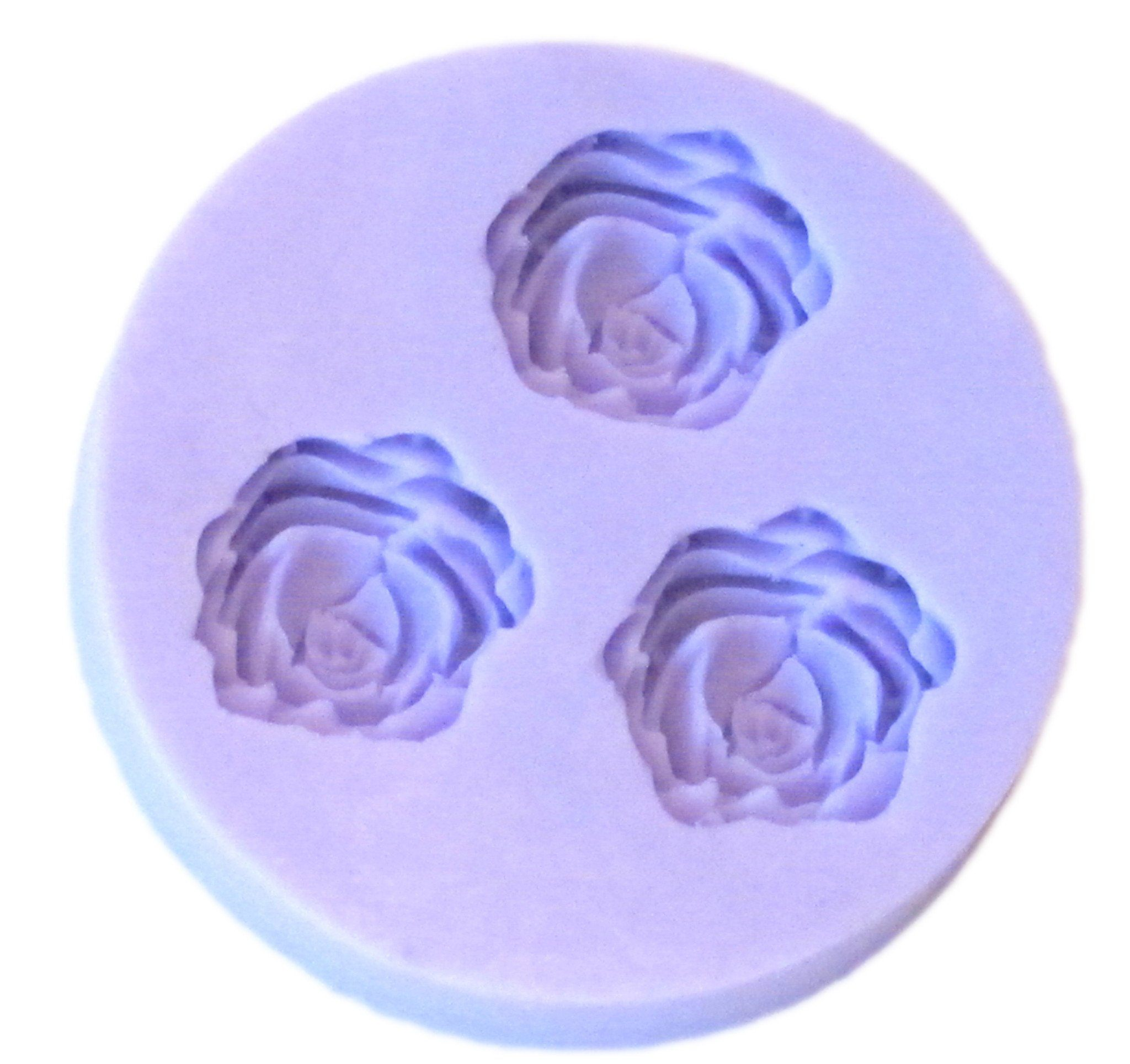 Open rosebud rose silicone mold