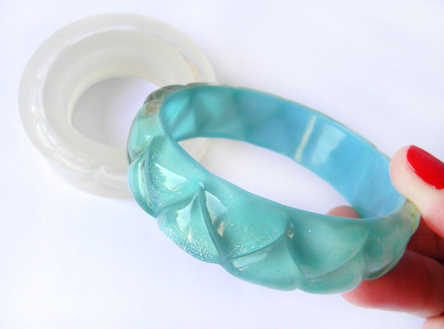 Clear silicone fancy carved bangle mold