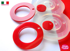 Clear silicone round shape earrings mold - two sizes