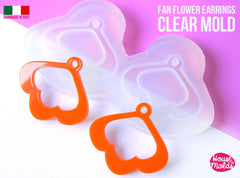Clear silicone earrings mold open fan flower shape
