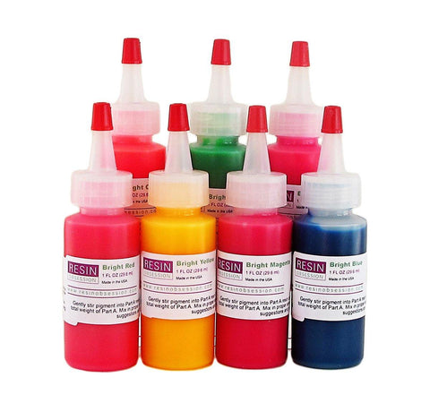 Resin Obsession bright translucent color pigments - complete set of 7 colors