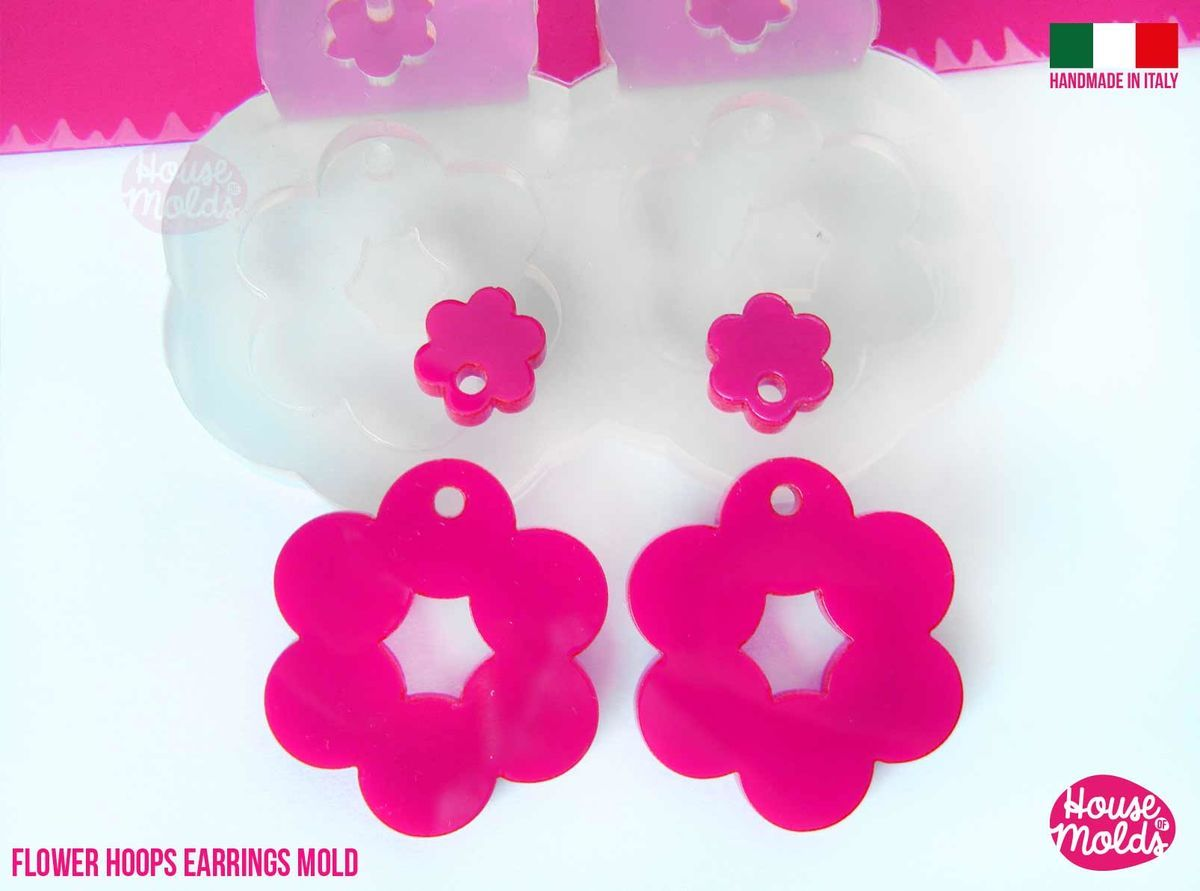 Clear silicone flower shape earrings mold