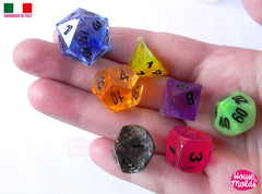 Clear silicone set of 7 dice molds - sharp edges