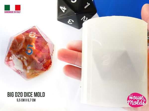 Clear large twenty sided silicone dice mold