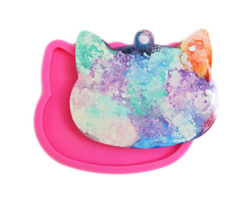 Cat head shape silicone key chain mold - make cat resin charms
