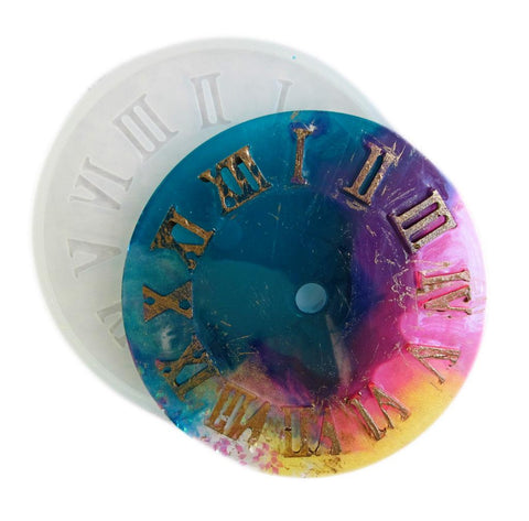 Clear silicone clock face - Roman numerals - make resin clocks