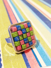 Silver square bezel ring QTY 1
