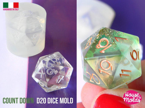 Countdown D20 dice mold - clear silicone dice mold